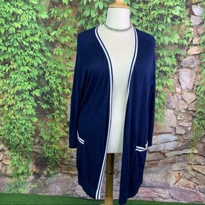SEJOUR Navy and White Varsity Sweater, 3X